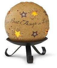 """Comfort Candles 4-Inch Pierced Round Candle Holder/ Stand""""Best Things in Life"""""""