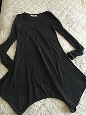 Asymmetrical Hem Charcoal Gray Dress Long Sleeve Size M L Knee Length Black Stud