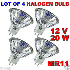 LOT OF 4 BULB HALOGEN LIGHT BULB MR11 CLEAR BI-PIN WIDE BEAM EXN 12 VOLT 20 WATT