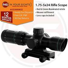 1.75-5x24 Rifle scope Red/Green illuminated reticle / Shockproof air gun scope