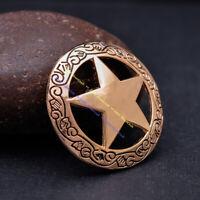 6X 32MM Western Texas Ranger Star Longhorn Gold Silver Conchos Set Screwback