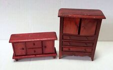 2 Pc Wooden Cherry Color Doll House Miniatures Furniture Dresser Chest Armoire