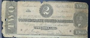 TWO DOLLAR 1864 $2 B CONFEDERATE STATES OF AMERICA NOTE