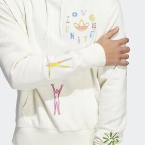 Adidas Love Unites Hoodie Hoody Gender Neutral Mens Sz XL White PRIDE LGBTQ