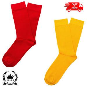 Relco Men Red & Yellow Fine Gauge Knit Socks Mod Scooter Retro Skinhead Vtg
