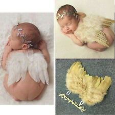 Newborn Baby Kids Feather Angel Wings Leaves Headband Photo Photography Props UK