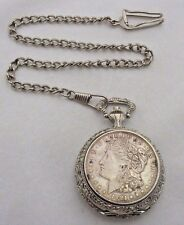 1921 Morgan Silver Dollar U.S. Commemorative Society Pocket Watch Chain Limited