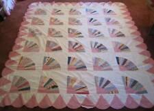 vintage fan feedsack cotton quilt top - pannello patchwork