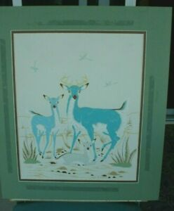 Woody Crumbo Silk Screen Blue Deer Family Listed Artist