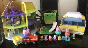 W@W PEPPA PIG TOY BUNDLE DELUXE HOUSE CAMPER VAN TREE HOUSE TRAIN & FIGURES L@@K