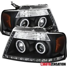 For 2006-2008 F150 Lincoln Mark LT Black LED Strip Halo Projector Headlights