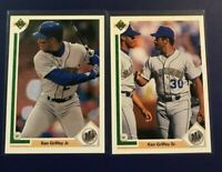 1991 Upper Deck #555 #572 KEN GRIFFEY JR & SR Seattle Mariners Lot Nice Look !