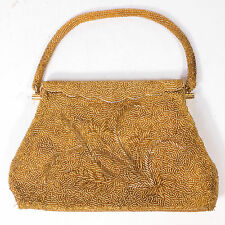 Vintage Gold Leaf Beaded Patterned Hand Bag Purse