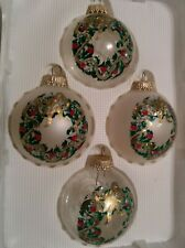 Christmas By Krebs 4pc Painted Wreath Glass Ball Hanging Ornaments - Made in Usa
