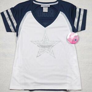 Dallas Cowboys Tony Romo Shirt Womens Small White Blue Star Beaded NFL Ladies