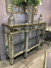 Large Belfry Antique Gold Mirrored Glass 3 Drawer Console Display Hallway Table