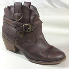 ROCKET DOG Womens 11 Med Brown Western Heels Booties Ankle Boots Buckles Shoes
