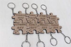 8 X Personalised Jigsaw keyring,wedding, Anniversary, Family, Bff, puzzle,bestie
