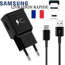 Chargeur Samsung Galaxy S8 / S8 PLUS S9 Charge Rapide AFC 2A NOIR + câble TYPE C