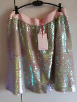TED BAKER pink sequin embellished fit & flare full skirt rosegold party TB3 12