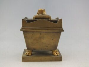 ANTIQUE FRENCH EMPIRE BRONZE INKWELL OF NAPOLEON'S SARCOPHAGUS OR TAOMB