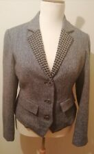 Jean Paul Berlin Ladies Wool Jacket Blazer. Size UK 14. Pin Stripe, Beading VGC
