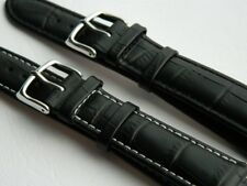Genuine Calf Leather Watch Strap Alligator Pattern Watchband Replacement Black