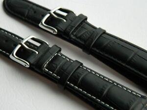 Genuine Calf Leather Watch Strap Alligator Pattern Watchband Replacement Black