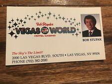 Bob Stupak's Vegas World Hotel Business Card Original Las Vegas Nevada