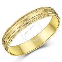 9ct Yellow Gold Ring Bead Diamond Cut Edge Light D Shaped Wedding Band
