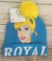 Disney Cinderella Pom Pom Winter Hat Royal Blue Girls One Size Princess NEW