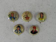 Lot of 5 Fawcett Captain Marvel Pinbacks Pins