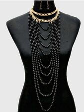 Long Big Black Gold Pearl Multi Strand Layered Bead Chunky Jewelry Necklace Set