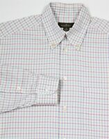 ERMENEGILDO ZEGNA White w/ Red//Blue/Green Check Cotton Dress Shirt~ Medium