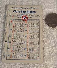 Vintage 1943 PABST BLUE RIBBON Pocket Calendar PBR Beer Advertising
