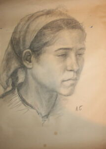 Girl portrait Antique pencil drawing signed