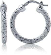 """Charles Garnier - """"Milan"""" - 25mm Rhodium-Plated Sterling Silver Hoop Earrings"""