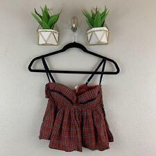 FREDERICKS of HOLLYWOOD Red Tartan Cotton Underwire Demi Bra Top size S Plaid