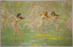 Vintage 1920s F.W. Read Ethereal Fine Art Pin-Up Print Lithograph Forest Nymphs