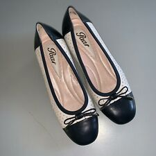 """Paar"" Leather Low-Heel Pumps Shoes Navy White US 6 EUR 36"