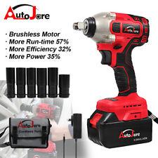 "20V 3000mA 1/2"" Cordless Impact Wrench Socket Brushless Motor Electric Battery"