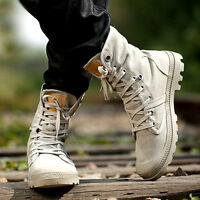 Mens Canvas Lace Up Casual Outdoor Hiking Desert Ankle Boots Shoes 3 Colors New