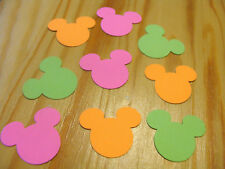 50 Mickey Mouse party table confetti orange pink and green 1 inch