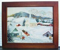 Original American Folk Art Naive Winter Farm Landscape Oil Painting
