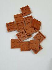 Lego dark orange plate 2x2(3022), 15 parts