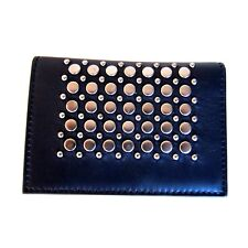 J-2944967 New Salvatore Ferragamo Black Silver Stud Leather Credit Card Holder