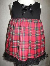 NEW Baby Girls Black Red Tartan Check Smock lace Top Dress Alternative clothing