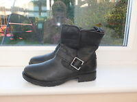 Boys NEXT Black Leather Biker Ankle Boots sizes 9, 10
