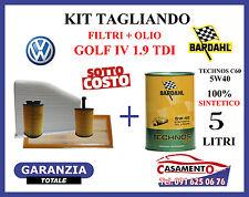 KIT TAGLIANDO OLIO MOTORE BARDHAL 5W40 + FILTRI VOLKSWAGEN VW GOLF IV 1.9 TDI