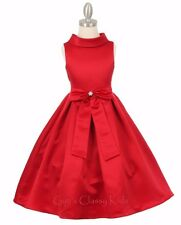 Red Flower Girl Dress Party Pageant Christmas Formal Wedding Birthday Recital
